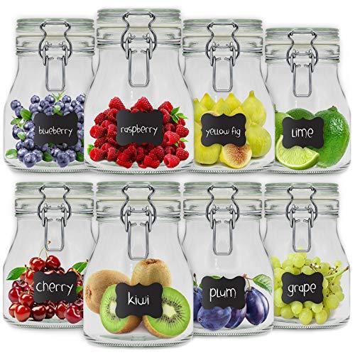 Creative Home 8 x Tarros de Cristal Herméticos con Tapa | 8 x 800ml | Set Botes Envases Cierre de Clip | para Conservar Alimentos | 12 Pegatinas Reutilizables + 1 Tiza Sin Polvo