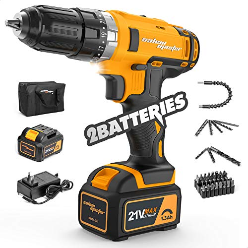 SALEM MASTER Cordless Drill Driver, 21V MAX Impact Drill - 3/8'' Auto Chuck, 29N.M Torque, 23+1 Clutch, Variable Speed, 2 Batteries, Built-in LED- for Drilling Wall, Wood, Metal