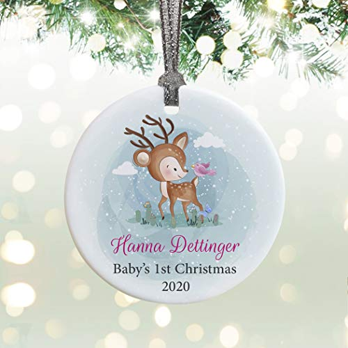 Lplpol Baby Girls Personalized First Christmas Ornament | New Baby Gift | Boho Deer Christmas Ornament With Name | New Baby Christmas Keepsake 3 inches