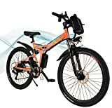 Hesyovy 26'' Folding Electric Mountain Bike Removable Large Capacity Lithium-Ion Battery (36V 250W), Electric Bike 21 Speed Gear and Three Working Modes (Orange)