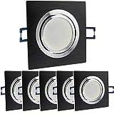 6x LED Einbaustrahler Set eckig - schwarz 5 Watt neutralweiß dimmbar 230V flach (30mm Tiefe) – Einbauleuchte schwenkbar 70mm Bohrloch – Einbau-Spot neu Decken-Strahler