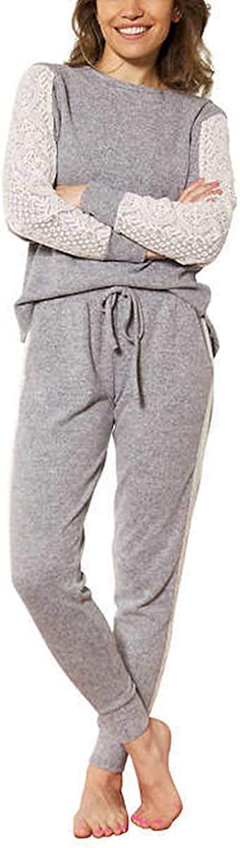 Flora Nikrooz Women's 2 Piece Long Sleeve Lounge Set with Lace, Long Sleeve Top & Jogger Pant