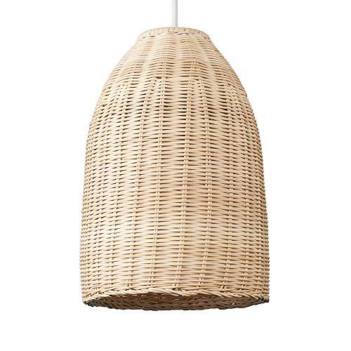 MiniSun – Moderner brauner Lampenschirm aus natürlichem Rattan in Form eines Körbchens – für Hänge- und Pendelleuchte