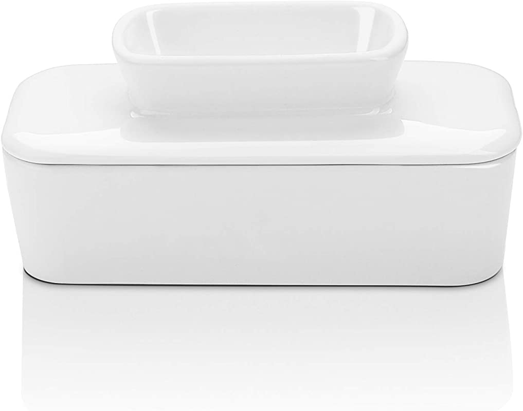 Sweese 309 101 Porcelain Butter Dish With Water French Butter Keeper Crock Perfect For East Coast Butter Spreadable Without Refrigeration White