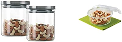 Borosil Classic Glass Jar For Kitchen Storage, Set of 2, (600ml + 600ml) & Klip N Store Glass Food Container, 400 Ml Round, for Kitchen Storage with Air Tight Lid - Mi Combo