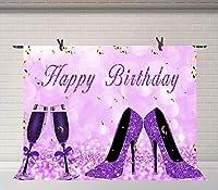 HDパープルハッピーバースデーの背景シャンパンとハイヒール誕生日パーティー写真の背景パーティー装飾写真ブース小道具7x5ft BJQQFU164
