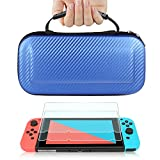 TJS Case for Nintendo Switch with [2 Pack Tempered Glass Screen Protector] Carbon Fiber Texture Hard Travel Carrying Case Shell Carry Pouch - Blue
