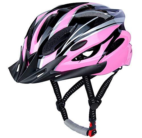 CXING Casco de bicicleta para adultos, casco de ciclo, casco de bicicleta especializado para protección de seguridad para hombre y mujer, colocado con una diadema, deportes al aire libre (rosa negro)