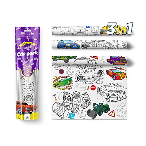 Kids Coloring Tablecloth, 3 Big Color In Activity Pages – Cars, Trucks, Trailers & Tools – Large Draw On Table Cloth for Children, Boy Party