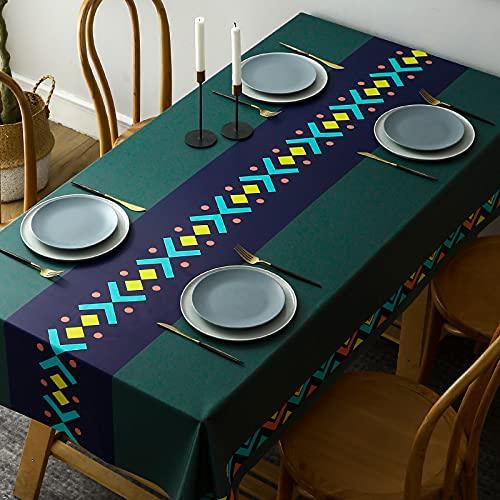 PhantasyIsland.com Mantel Rectangular de Lino y algodón, Resistente a la Suciedad, a Rayas, para decoración de Mesa de Comedor o Cocina, 120x180cm