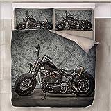 HDBUJ Vintage Motorrad 3D Schwarz Bettbezug, Mit Reißverschluss, Polyester Bettwäsche, Zwei Kissenbezüge, Einzelbett (Doppelbett) 200X200Cm
