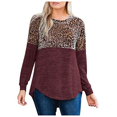 Auifor Vrouwen Dames Luipaard print-split-ronde aanzet -lange mouwen t-shirt blouse-bovenkant