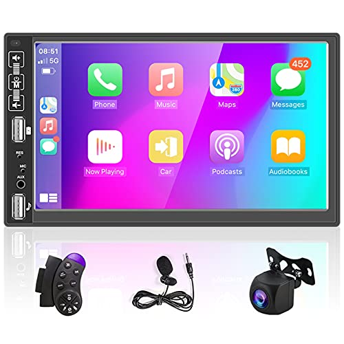 Podofo Autoradio mit Carplay Android Auto 2 Din,7 Zoll Bildschirm ,Kabellose Mirror-Link/Bluetooth/FM/USB,MP5-Player Media Receiver mit AHD Rückfahrkamera,Lenkradfernbedienung