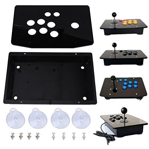 FTVOGUE Schwarzes Acryl Panel und Case DIY Set Kits Ersatz für Arcade-Spiel mit Schrauben und Saugern