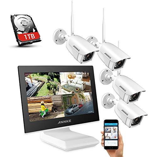 ANNKE Überwachungskamera Set mit Monitor 1080P 4CH 10.1 Zoll 2.0Megapixel Funk NVR Überwachungssystem mit 4 x 1080P WLAN IP Kamera Vorinstalliert 1TB Festplatte Videoüberwachungssystem für Innen Außen