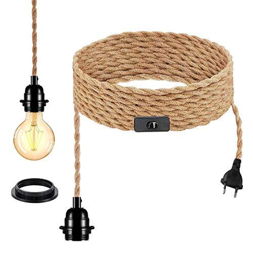 Lámpara de techo industrial, cuerda de cáñamo trenzada, E27, cable eléctrico de 4,5 metros, cable de lámpara vintage con interruptor, para cocina, sótano