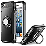 MaiJin Funda para Apple iPhone 5 / iPhone 5S / iPhone SE (4 Pulgadas) Multifunción Anillo sostenedor movil de 360 Grados con función de Soporte Rugged Armor Cover Case (Negro)