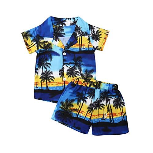 Bebé Niños Traje de 2 Piezas Conjunto Top Camisa de Manga Corta Pantalón Corto Camiseta con Estampado Infantil Ropa Verano de Playa para Vacaciones