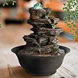 Ferrisland 4-Tier Tabletop Water Fountain with Cascading Rock Waterfall and LED Lights for Office Home Décor