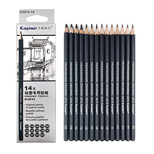 Case&Cover 14pcs / Set 12b 10b 8b 7b 6b 5b 4b 3b 2b B HB 2h 4h 6h Grafito Bosquejo del lápiz Set Profesional