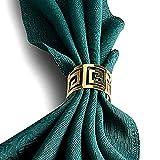 Yalulu 12 Stück Serviettenringe Servietten Halter Banquet Serviette Ring Dinner Hochzeits Weihnachten Dekoration Tischdeko (Gold) - 3