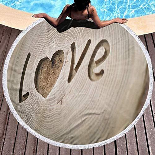 JJRAIN88 Toalla de Playa Redonda,Elegante colchoneta de Picnic.Xilografía inscripción Amor corazón símbolo de Fondo para su diseño
