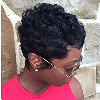MELANNA Short Human Hair Black Curly Pixie Cut Wigs for Black Women African Americans Summer Short Pixie Wigs Women