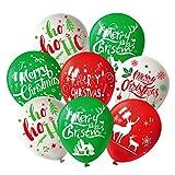 FEPITO Globo de Fiesta de Navidad 12 Pulgadas Globos de Navidad de látex Rojo y Verde Blanco, 6 Estilo Merry Xmas para decoración de Navidad Artículos de Fiesta (25 Pcs)