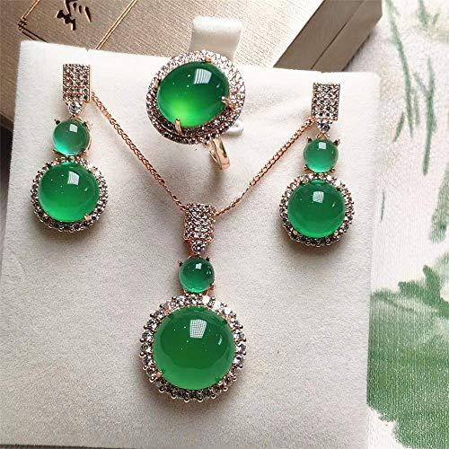 Evil Conjunto de Joyas de Plata esterlina 925 Collar de Oro Rosa Verde Esmeralda Natural/Pendientes/Anillo Joyería Fina para Mujer