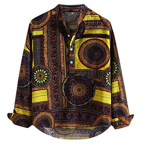 BBsmile Camisas Hawaianas Hombre Camisetas Hombre Vendimia Étnico Impreso Suelto Ropa Hombre 2019