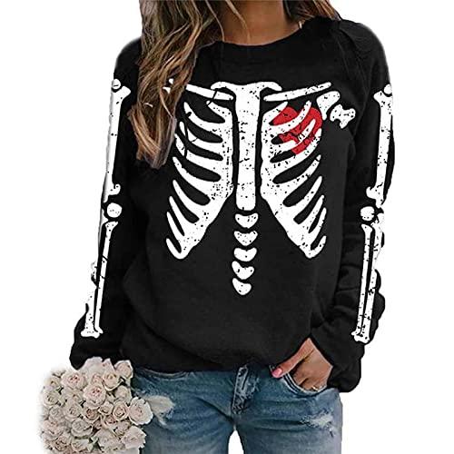 FeMereina Mujeres Sudaderas de Halloween Esqueleto Impresión Ajuste Suelto Manga Larga O-Cuello Jersey Tank Top Y2K Hip-Hop Casual Streetwear, Negro, L