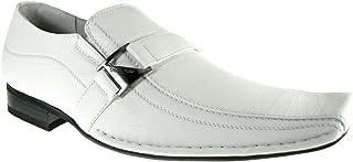 Delli Aldo Men's 19231 White Buckle Square Toe Slip on Loafers Shoes