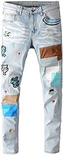 メンズ刺繍パッチワークジーンズリッピングストレッチスリムフィットジーンズ