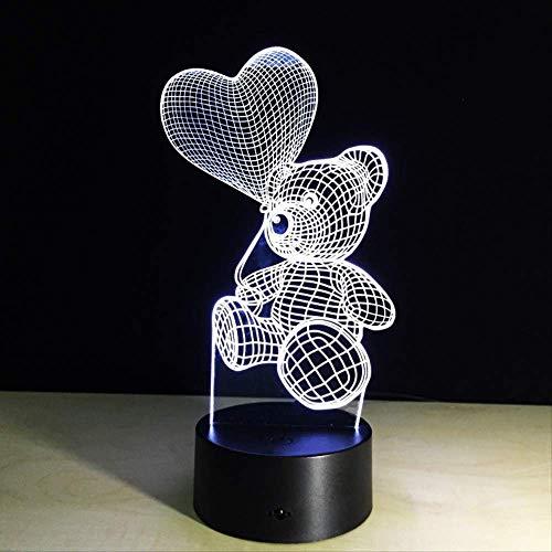 Nachtlampje 3D Touch Nachtlampje, led-nachtlampje, hartje, ballon, beer, lampje voor kinderen, slaapkamer, nachtkastje, nachtlampje, kindercadeau, Home 7 kleuren decoratie