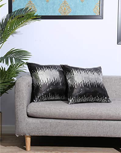 Eternal Beauty|Sequin Cushion Covers,Pack of 2 Decorative Black Silver Throw Pillowcases,Square Sparkly Cushin Cover for Home Decor with Concealed Zip 18 x 18 inch(45 x 45 cm)