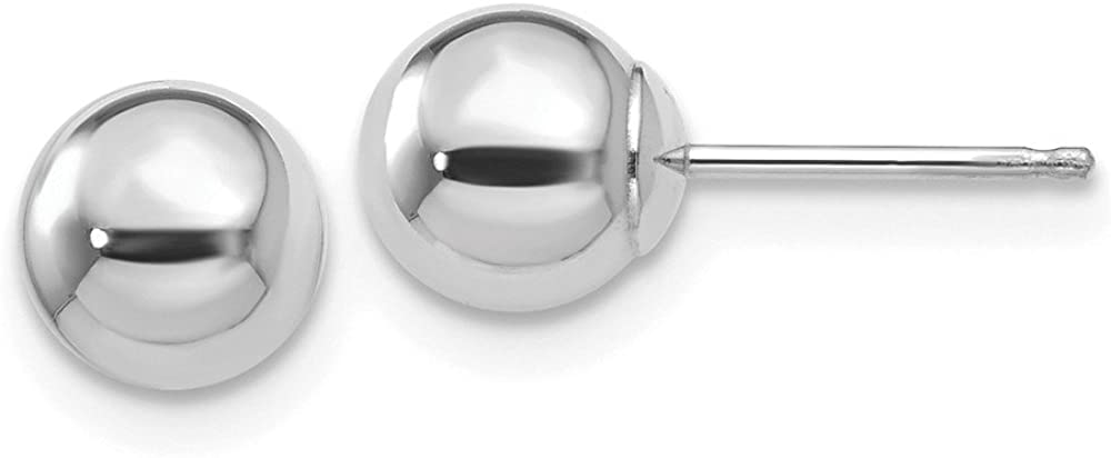 14K White Gold Polished 6mm Ball Post Earrings