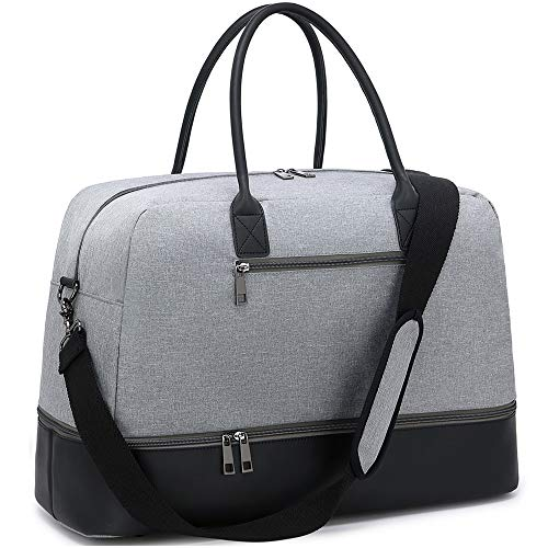 CAMTOP Weekender Bag Women Ladies Travel Overnight Carry On Tote Duffel Bag with Shoe Compartment and Luggage Sleeve (0866D-Gray)