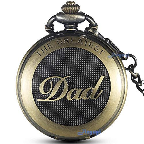 Gorben, orologio da tasca al quarzo, full-hunter, stile antico con catena, da uomo, ideale per il papà, con scatola