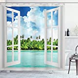 Ambesonne Ocean Decor Collection Palmen Tropical Island Beach Nature Paradise Panoramabild durch Holzfenster Szene Polyester Duschvorhang Blau Weiß Grün Türkis Weiß 175,3 cm W/70 L