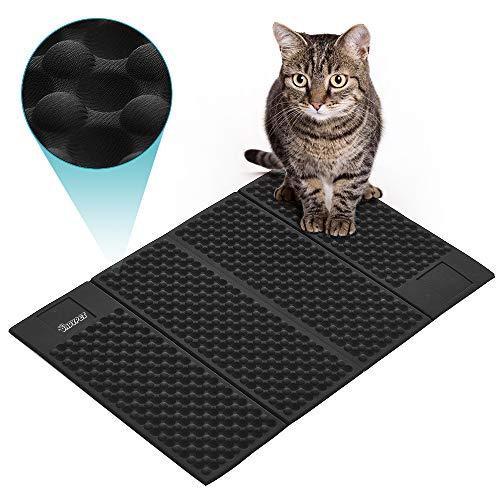 DADYPET Alfombrilla Gato, Mascotas Gatos Accesorios Cat Litter Mat Juguetes para Gatos Alfombra Gatos Arenero Esterilla Gato Impermeable Fácil de Limpiar (Negro)