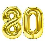 Siumir Globos de Numero Dorado Número 80 Grande Globos de Cumpleaños Papel de Aluminio Globos Decoración de Fiestas de Cumpleaños