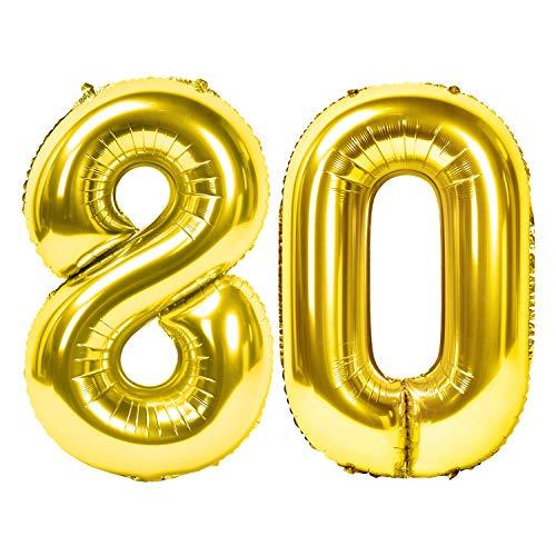 Siumir Zahlenballons Gold Number Folienballons Zahl 80 Riesenzahl Luftballons für Geburtstag, Hochzeit, Jubiläum Party Dekoration