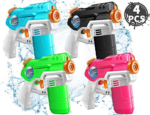 KIDPAR 4 Pack Waters Gun for Kids Soaker Squirt Games Easy to Catch, Durable Shooting, Long Range...