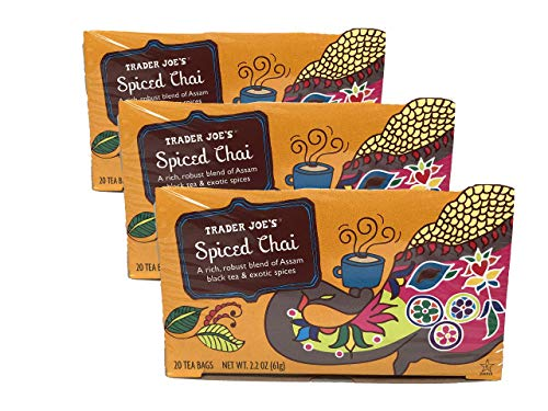 Trader Joe's Spiced Chai Assam Black Tea &Exotic Spices 20 Tea Bags 2.2 Oz. (Pack of three) – SET OF 5