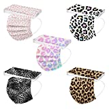 50PC Disposable Face_Masks for Adults Women Men with Designs Adult Fashion Leopard Print Face Covering Protections