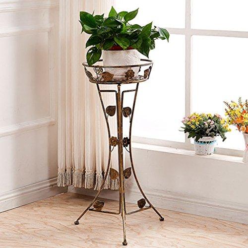 Plancher en fleur de fer Plancher Balcon Pots de fleurs suspendues Salon Riz vert pliant (Couleur : Bronze)