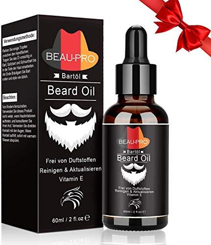 Huile Barbe 100% Bio, Soin de la barbe pour Homme, Huile Hydratante pour Barbe - Favorise la Pousse de la Barbe - Contient de l'Huile de Ricin, de Jojoba, d'Argan- Soin pour Barbe Bois de Santal 60 ml