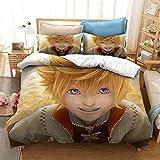 King's Heart Juego de rol Juego de cama con funda nórdica para adultos y jóvenes en 3D para niños, cama individual, cama doble, ropa de cama con funda de edredón suave y cómoda-K_135x200cm (2pcs)