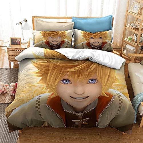 King's Heart Juego de rol Juego de cama con funda nórdica para adultos y jóvenes en 3D para niños, cama individual, cama doble, ropa de cama con funda de edredón suave y cómoda-K_228x228cm (3pcs)