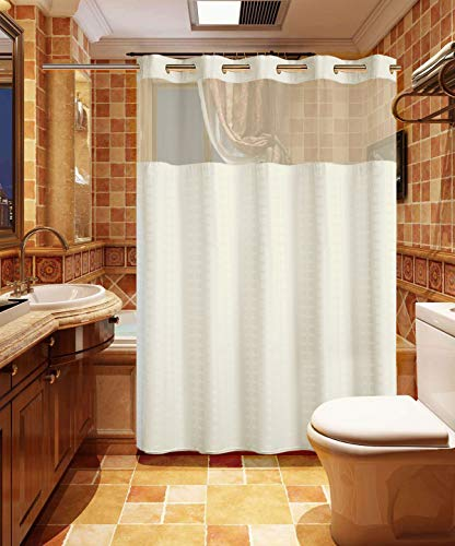 Conbo Mio Hookless Shower Curtain with Snap in Liner for Bathroom Waterproof Rust Proof with Premium Flex On Rings (White, 71'X74')